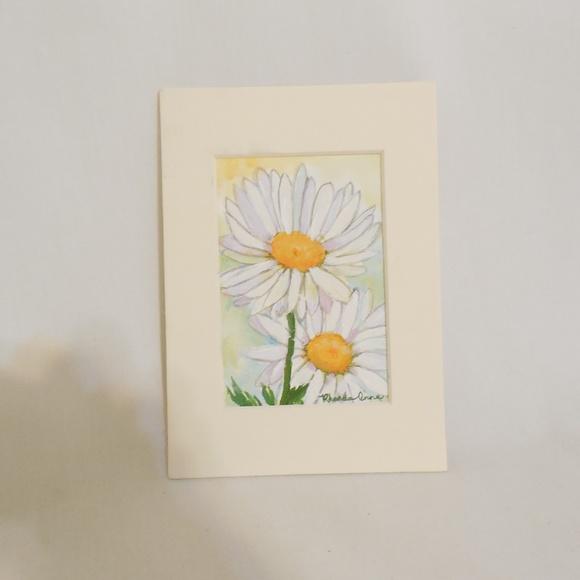 Original Watercolor Painting Daisies